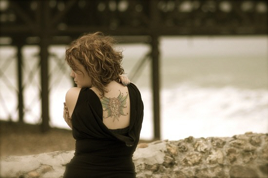 Allison Crowe on the beach at Brighton - photo by Billie Woods