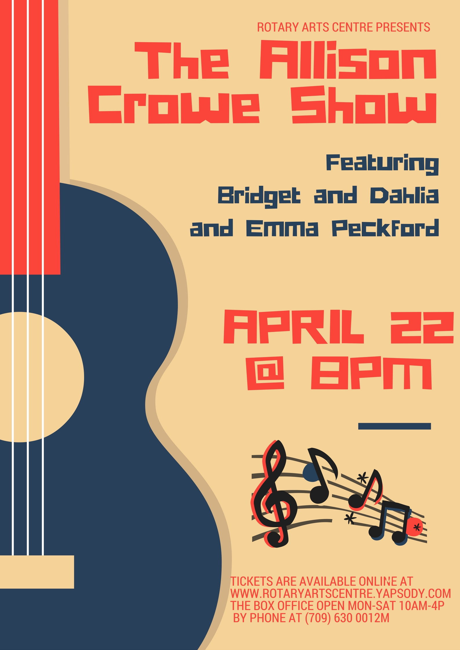 The Allison Crowe Show - April 22, 2017 - Rotary Arts Centre guitar poster