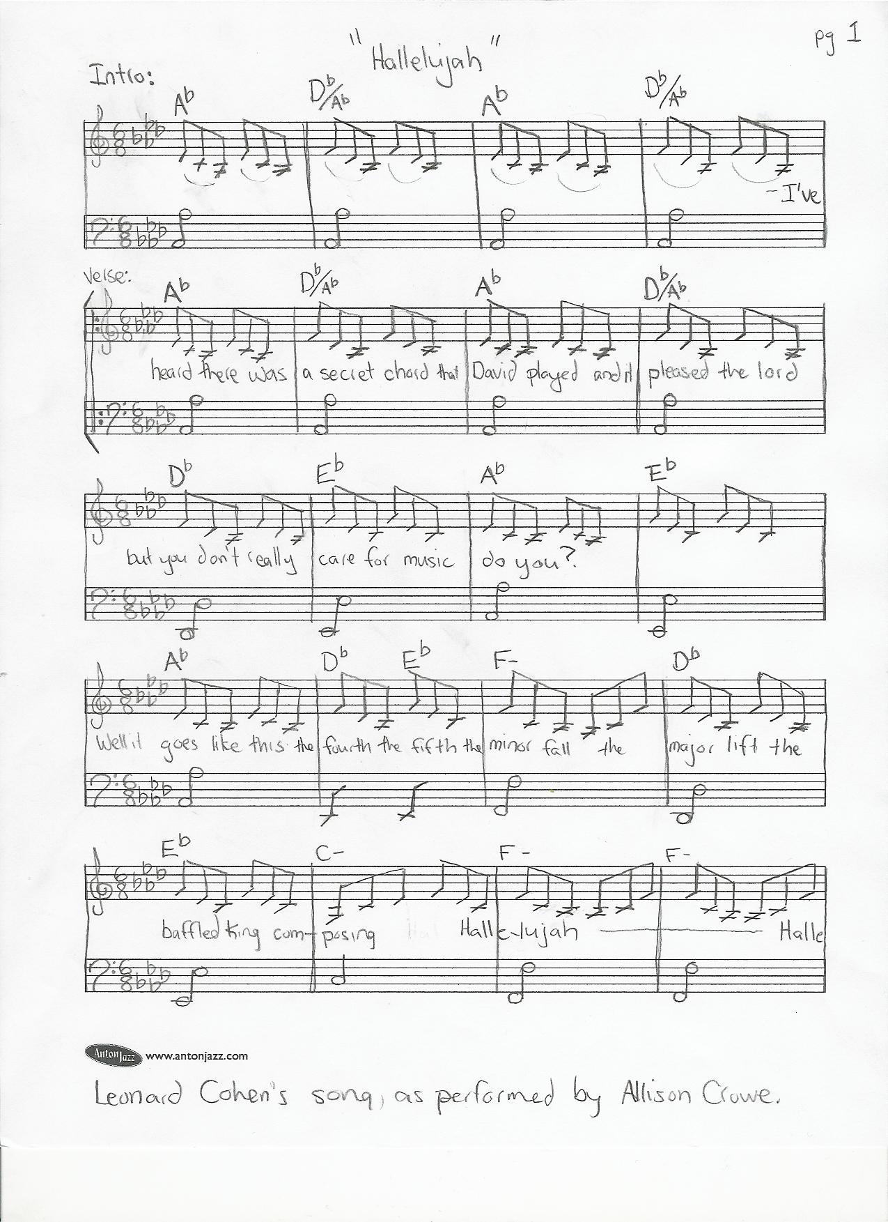 Hallelujah by Leonard Cohen performed by Allison Crowe - Sheet Music