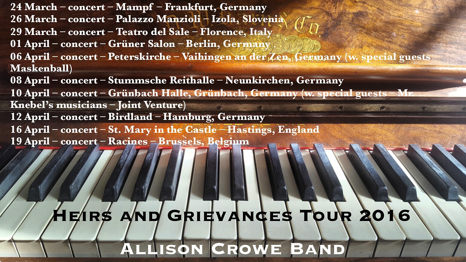 Heirs + Grievances Tournee 2016 - Allison Crowe and Band