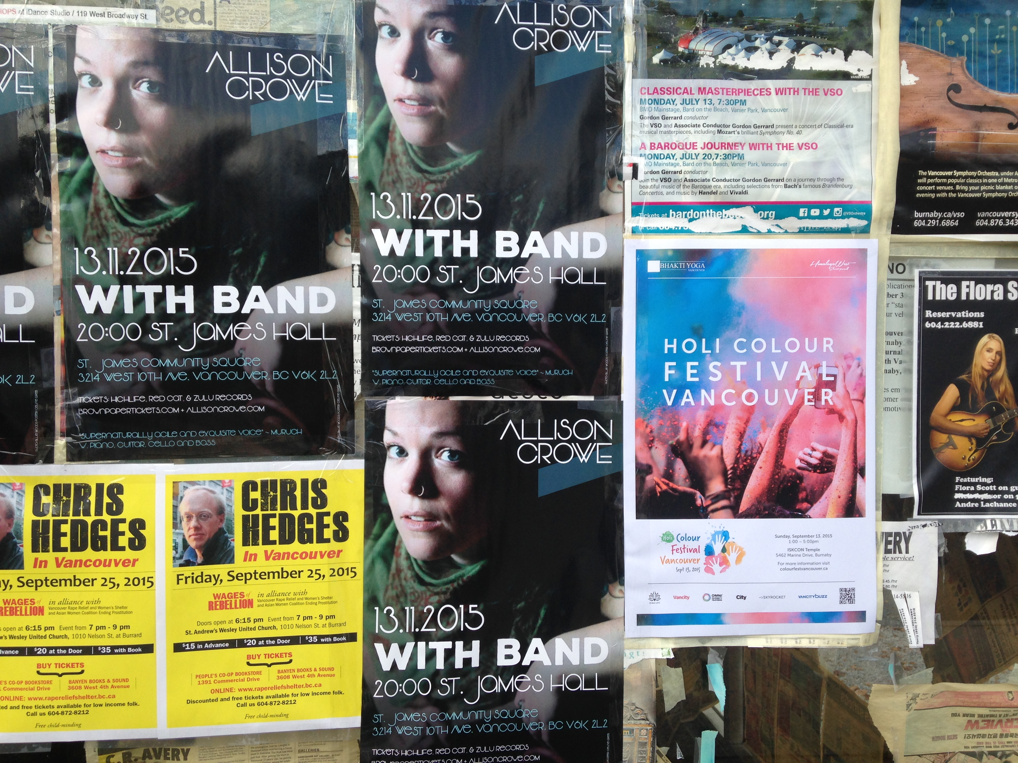 Allison Crowe Band concert poster - Vancouver street 2015