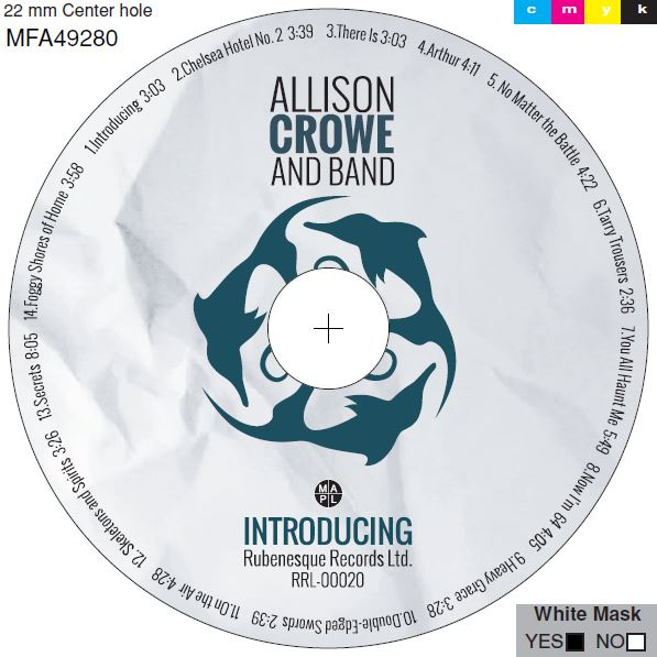 Introducing - Allison Crowe and Band - label proof - design by Celine Greb