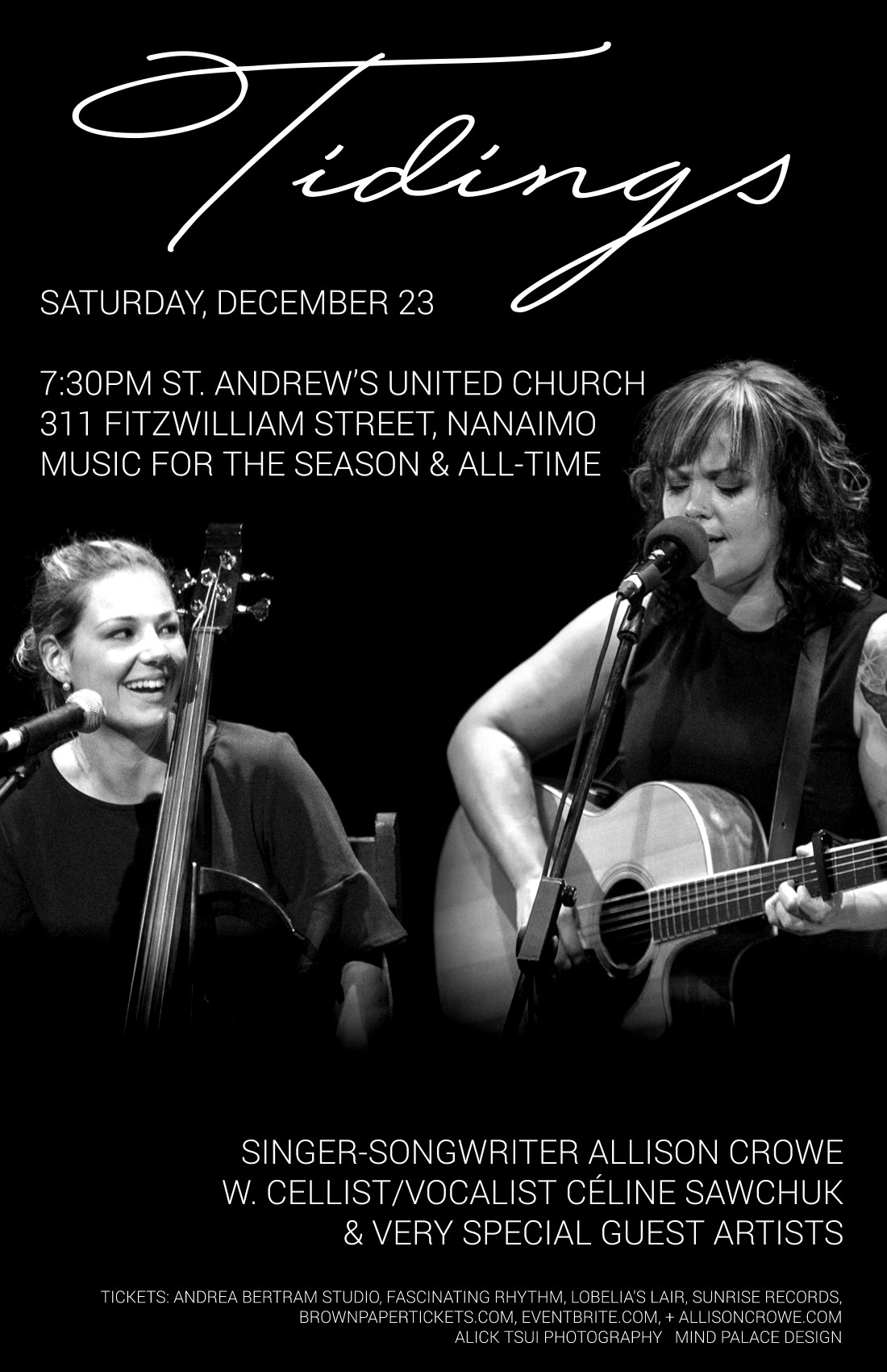 Nanaimo Tdings - Allison Crowe, Celine Sawchuk & Special Guests - St. Andrew's United Church, Saturday, December 23, 2017