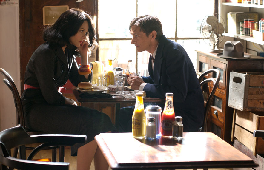 The Pardon - Jaime King, John Hawkes diner scene - movie still