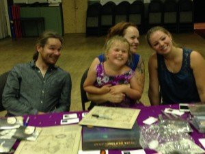 l-r: Dave, Allison - holding Audrey, daughter of sound-tech Steve Adamson) - and Celine post-concert in Ladysmith, BC