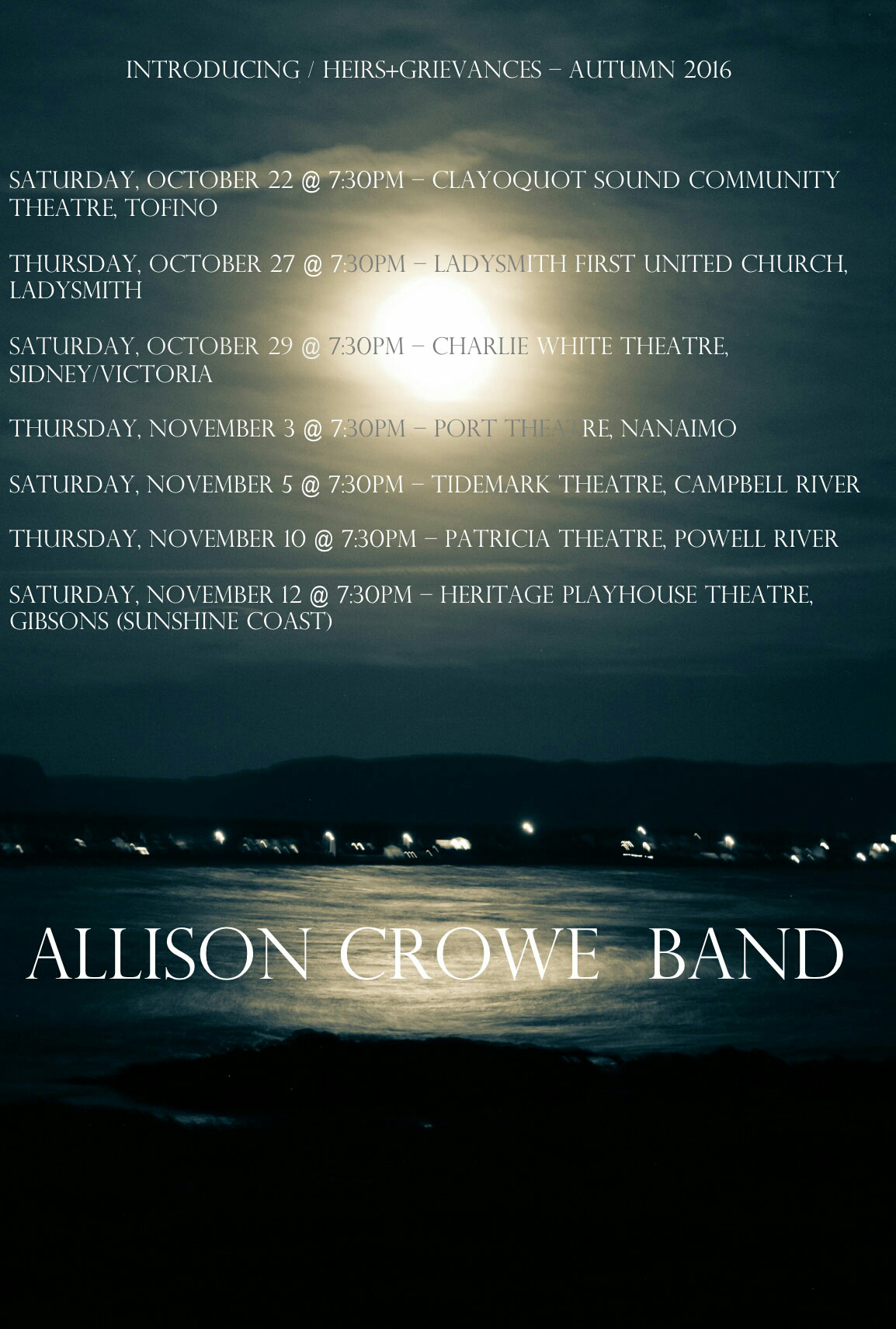 Allison Crowe and Band: Introducing / Heirs+Grievances - Autumn 2016 Tour