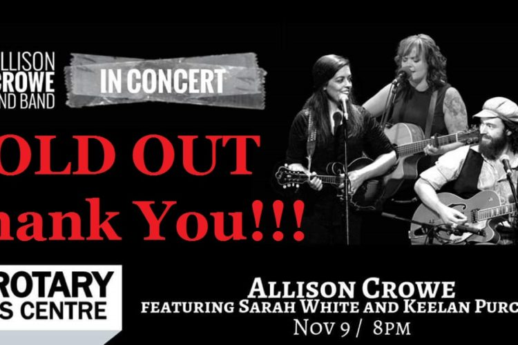 "Allison Crowe, Sarah White & Keelan Purchase look forward to sharing music and fun - life's magic with you. This night's concert is SOLD OUT! Thank you, everyone :) ""Going Home Tonight"": https://www.facebook.com/AllisonCroweMusic/videos/10153766625251676/"