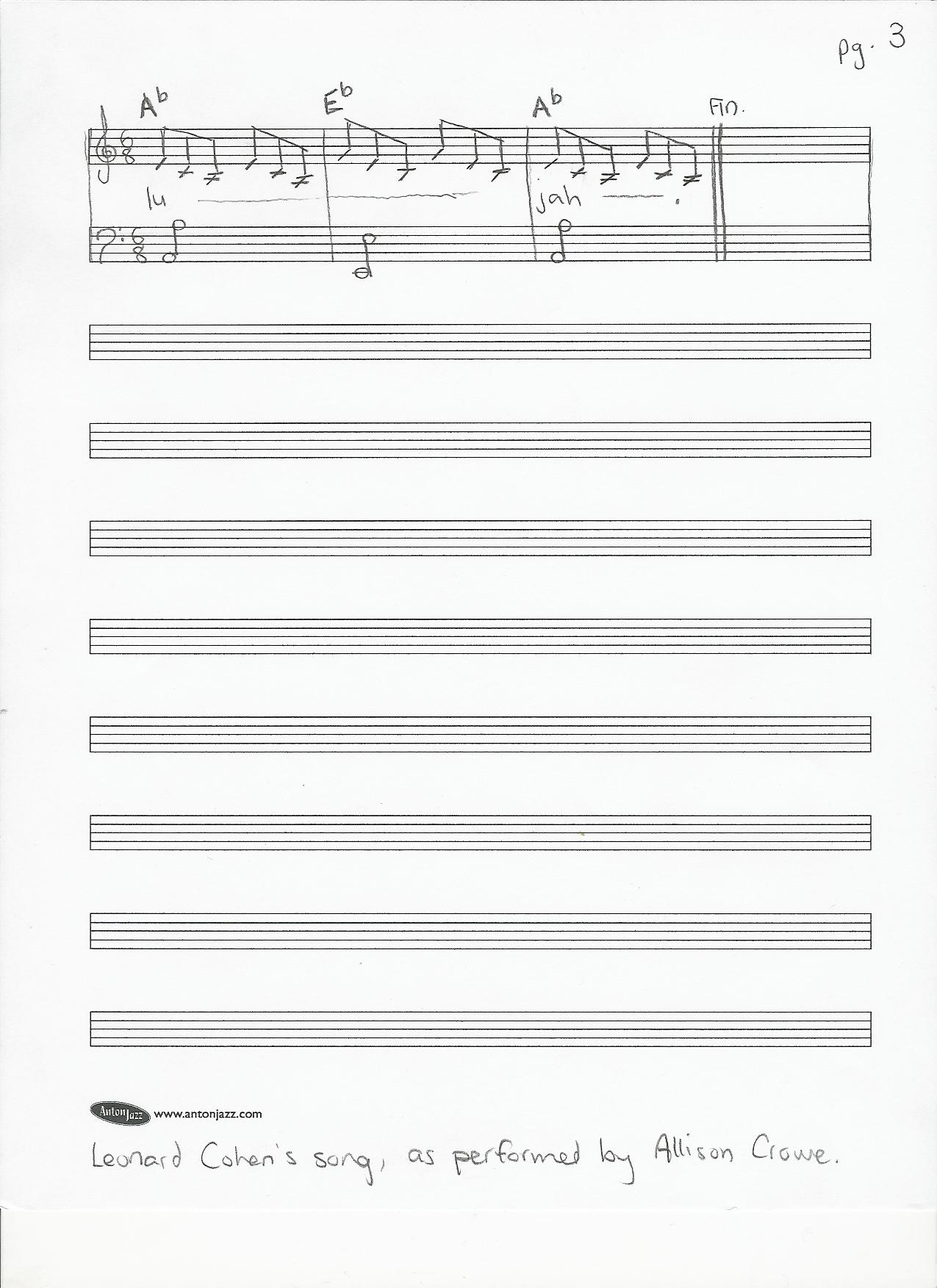 Hallelujah by leonard cohen performed by allison crowe sheet music page 3